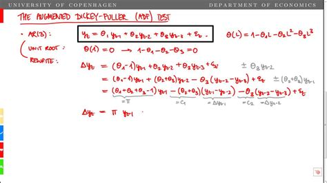dickey fuller test the augmented dickey fuller adf unit root test in an ar