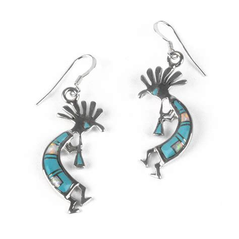 turquoise opal earrings turquoise earrings turquoise opal kokopelli earrings