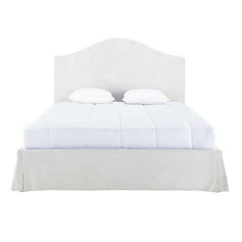 de letto letto sfoderabile in legno e lino ecru 160 x 200 cm