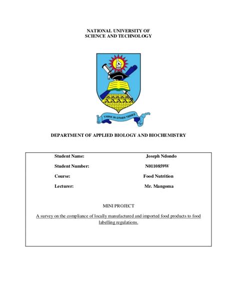 national 5 biology student 0007504640 food labelling compliance research in zimbabwe