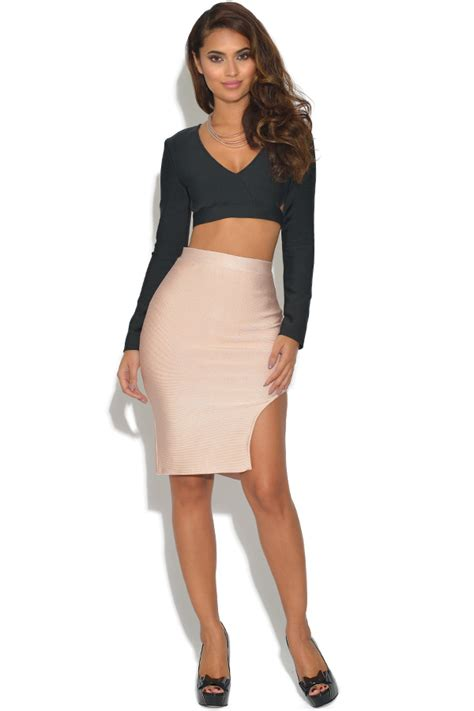 Set Top Skirt Jy772819 Gold Size M vestry 2 co ord bandage top and skirt set in black