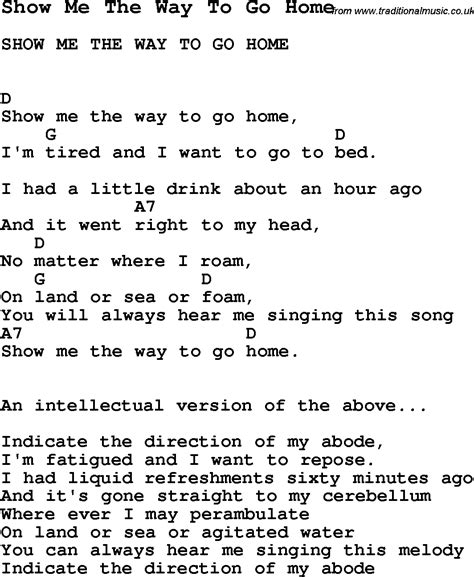 song show me the way to go home song lyric for vocal