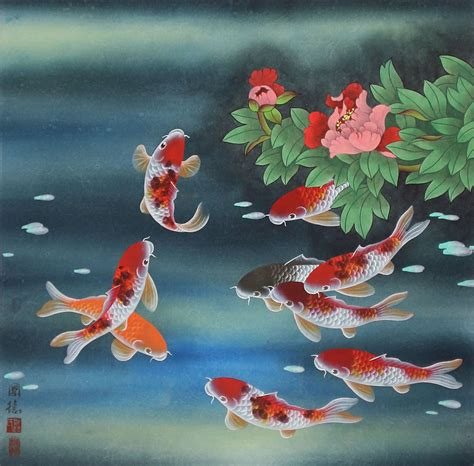 asian painting images nine koi fish and flowers asian painting asian koi fish
