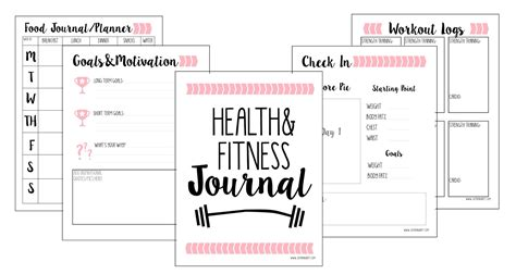 fitness journal template printable just being britt be yourself your