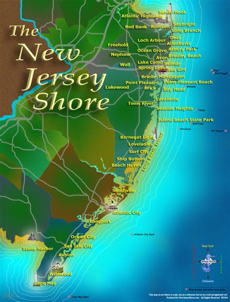 jersey shore map new jersey shore a guide serving jersey shore towns