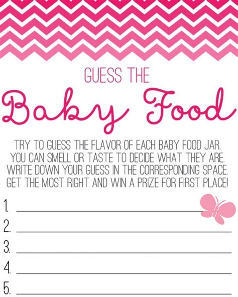 Baby Shower With Baby Food by Butterfly Guess The Baby Food Sheet Baby Shower