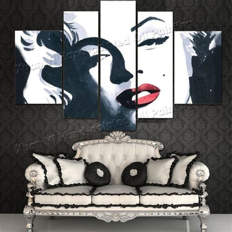 marilyn monroe home decor 5 panel canvas wall art abstract oil painting marilyn