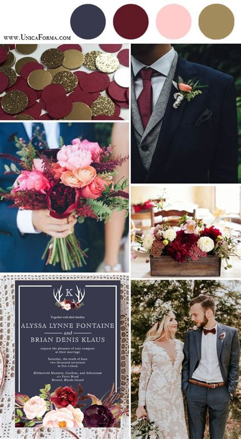 wedding colors *Pop of burgundy and gold add a nice fall
