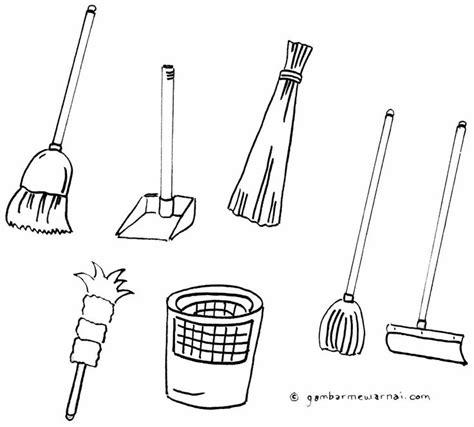 Sapu Pengki Hello mewarnai gambar alat kebersihan alat kebersihan