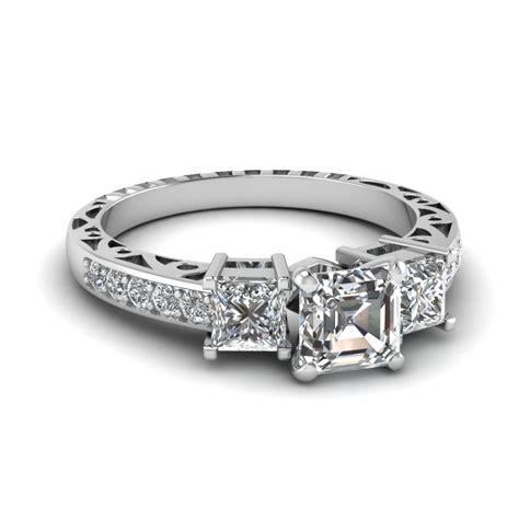 launching asscher cut vintage engagement rings