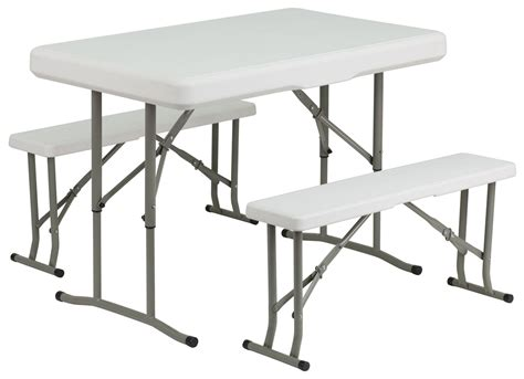 Folding Table And Bench Set Plastic Folding Table And 2 Benches Set From Renegade Coleman Furniture