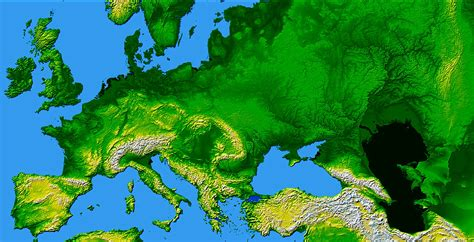 europe elevation map europe largest