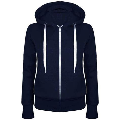 Drawcord Hoodie new womens fleece plain zip hoodie sweatshirt thick