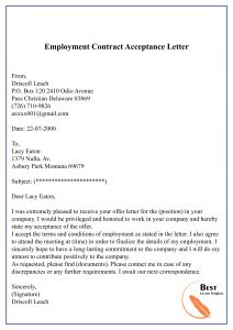 proposal contract acceptance letter format sample