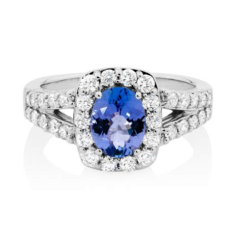 ring with tanzanite 1 carat tw of diamonds in 14ct white