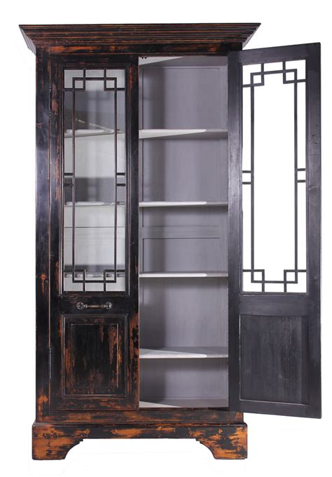 Black Cabinets With Glass Doors Recycled Distressed Black Pine Cabinet With Glass Doors 98 Cabinets Cupboards