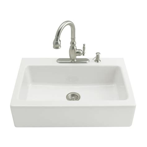 Single Basin Kitchen Sink Kohler Whitehaven Undermount Farmhouse Apron Front Cast