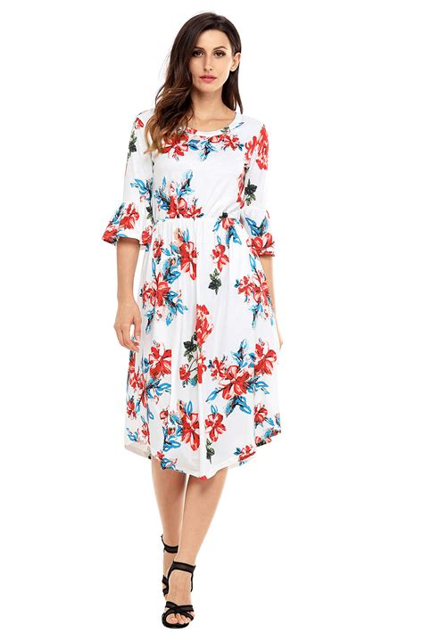 Dress Midi Mini Gaun Spandek Set Cardigan Polos Resmi Formal Kerja us 7 92 white 3 4 bell sleeve floral midi dress dropshipping