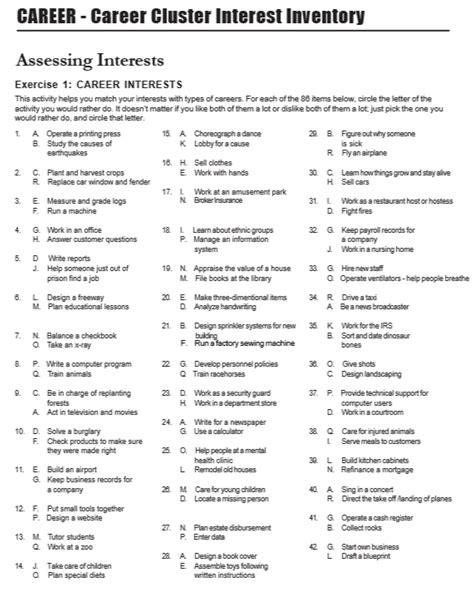 printable careers questionnaire 7 free sle career clusters interest survey printable