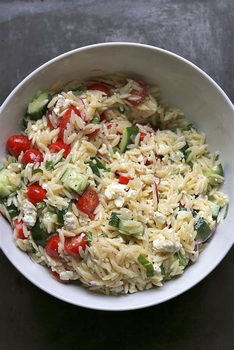 greek pasta salad greek pasta salad with orzo and feta cheese