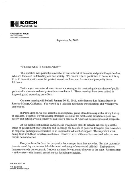 Invitation Letter For Political Meeting koch industries and network of republican donors plan