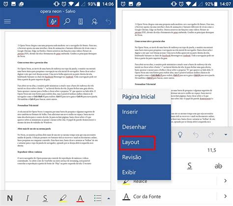configurar barra superior android word para android como configurar as p 225 ginas do seu