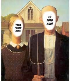 Wooden Table Face In Hole For Two With A Famous Painting Photofunny