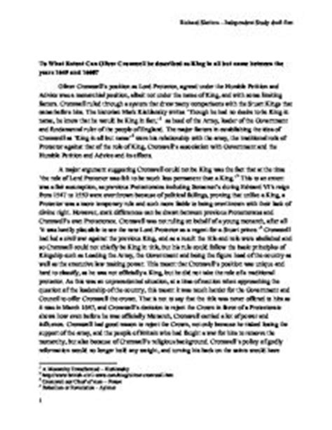 Oliver Cromwell Essay by History Independant Study Oliver Cromwell A Level History Marked By Teachers