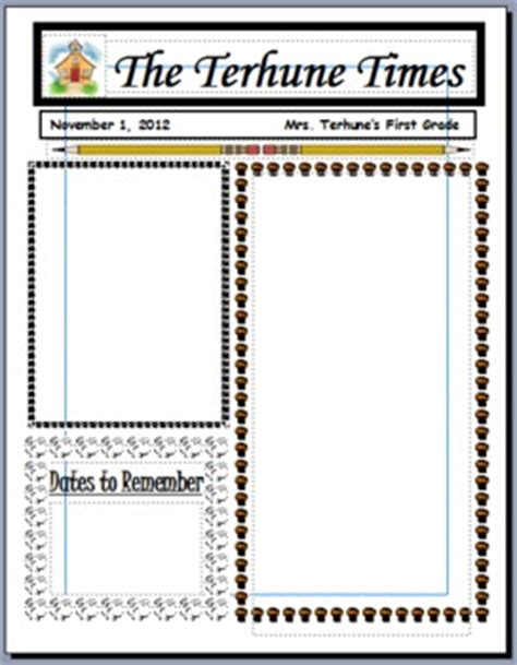 free monthly newsletter templates for teachers
