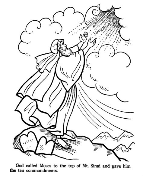 printable coloring pages for ten commandments moses receives the ten commandments from god color pages