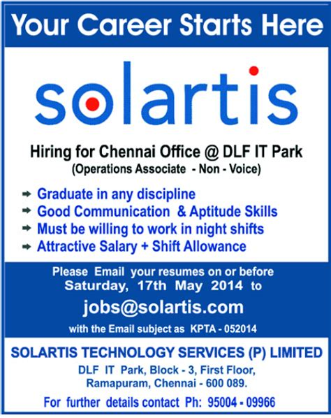 Internship In Chennai For Mba Operations solartis openings in chennai at dlf it park for