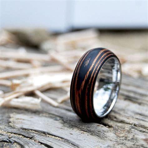 titanium wood wedding band ring with mahogany by