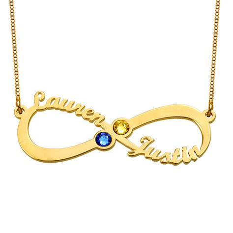 infinity name necklace with birthstones gold plated