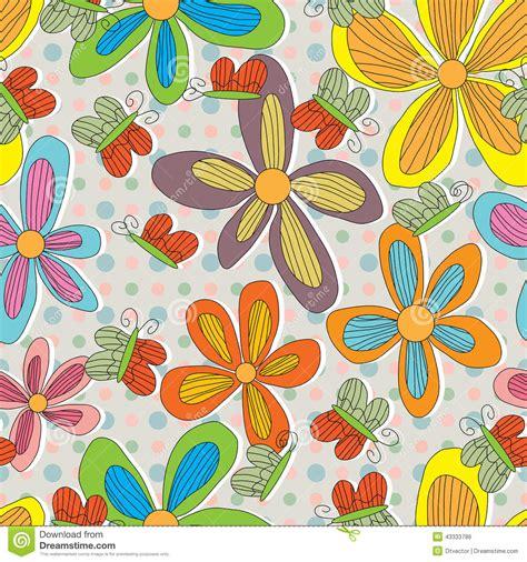 style flower flower style drawing line butterfliy dot seamless stock