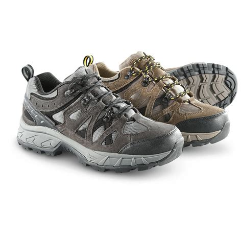 boots that stay on s guide gear teck low waterproof hiking boots 294057 hiking boots shoes at