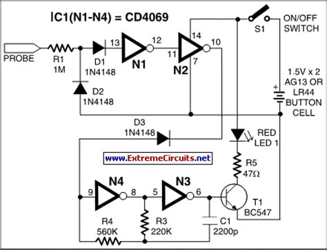 invisible broken wire detector circuit diagram
