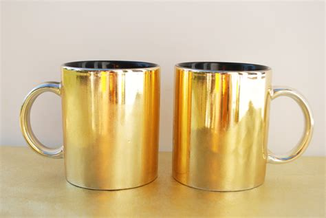 gold coffee mug vintage gold mugs set of 2 metallic gold black inside