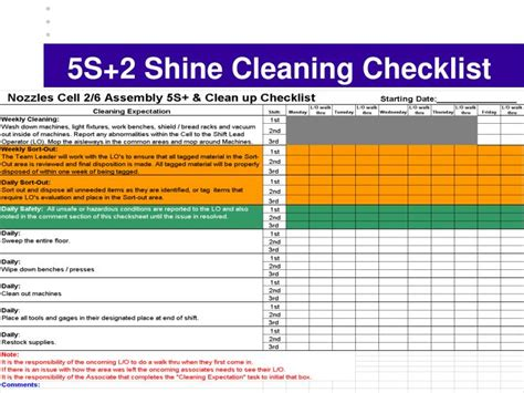 5s cleaning schedule template 5s cleaning checklist related keywords 5s cleaning