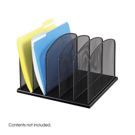 Black Desk Organizer Onyx Black Mesh Desk Organizer With 5 Upright Sections 3256bl