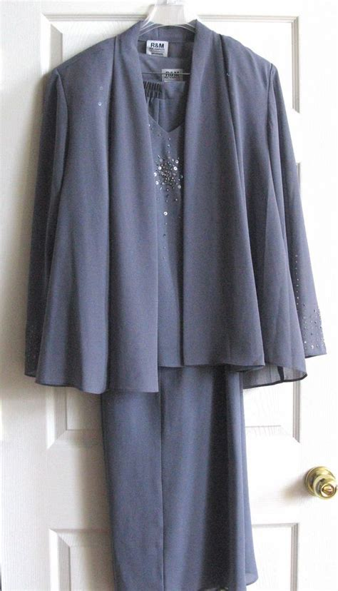 Pant Import A10216 Size M r m richards 3pc designer beaded pant suit plus
