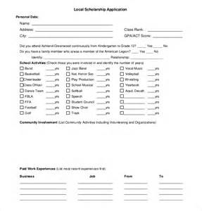 template for scholarship application scholarship application template 10 free word pdf