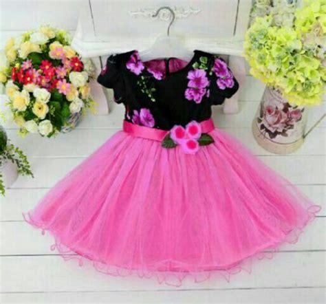 Dress Pesta Anak Perempuan Cewek Bronsy Bunga Petal Pink Ungu 1 2tahun baju dress pendek anak model terbaru lucu dan murah