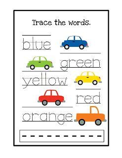 printable toddler words trace the color words preschool printables colors