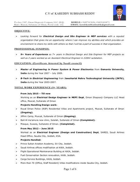 resume electrical engineer mep  years exp