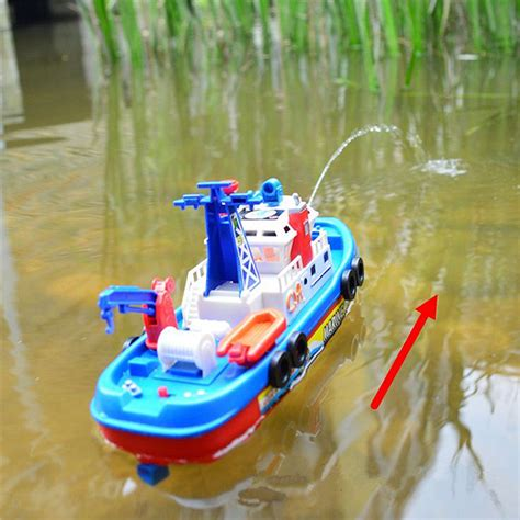 toy boat norway fireboat sound flash light water spray ship marine rescue