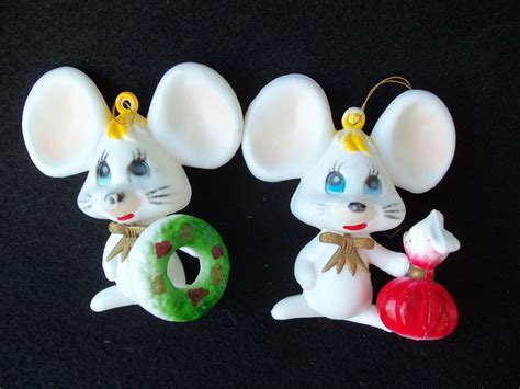 vintage plastic mouse mice christmas ornaments 2 cute