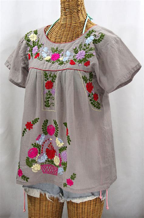 Blouse Valencia quot la valencia quot embroidered mexican style peasant top grey