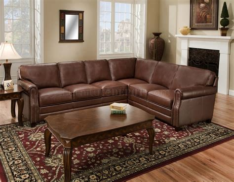 traditional sectional sofa cocoa brown top grain italian leather traditional