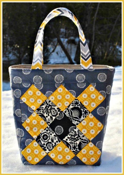 easy tote bag pattern with pockets no zippers no pockets easy to sew patchwork tote bag