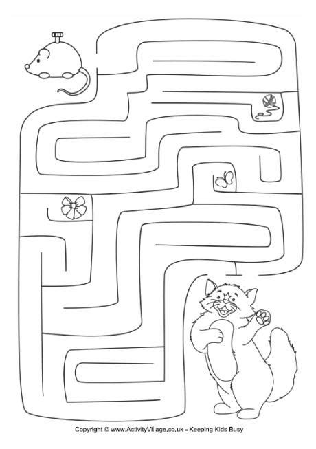 printable cat maze kitten and mouse maze